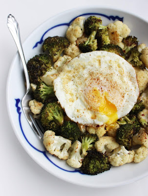 Veggies with roasted egg