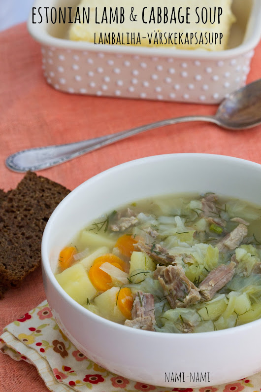 Estonian lamb soup with cabbage