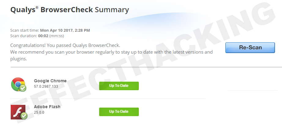 Qualys BrowserCheck Scan Results