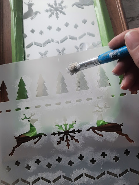 Stencil a Mirror for Christmas
