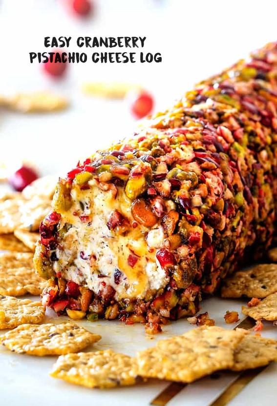 Easy Cranberry Pistachio Cheese Log #Cranberry #Pistachio #Cheese #Honey