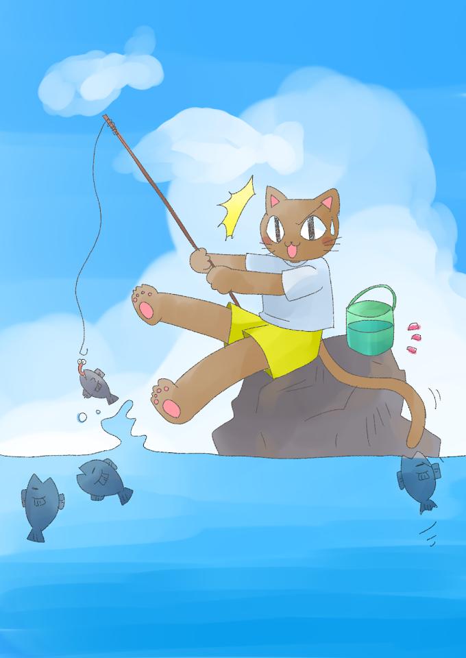 釣りをする猫さんのイラストです。