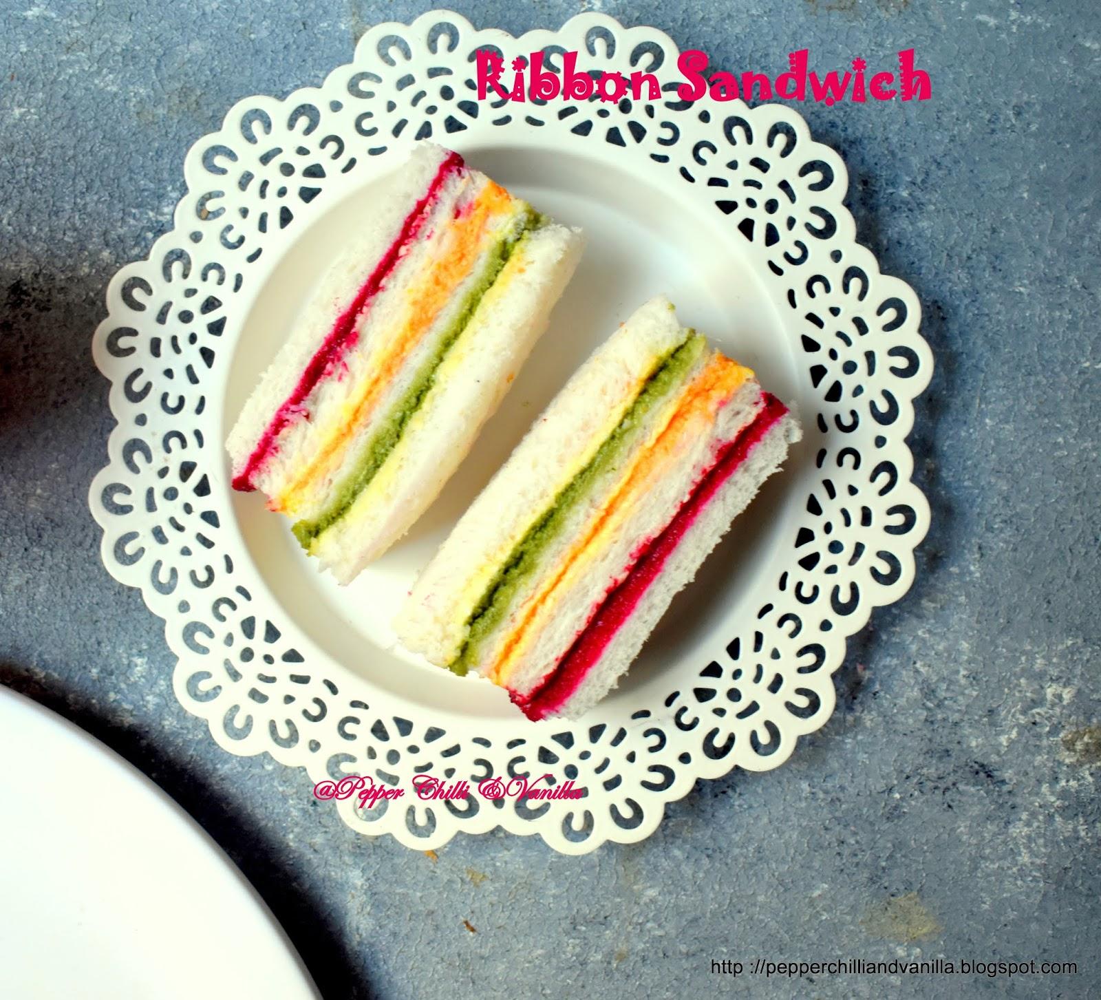 ribbon sandwich recipe,tricolour sandwich ,ribbon sandwich ,rainbow sandwich