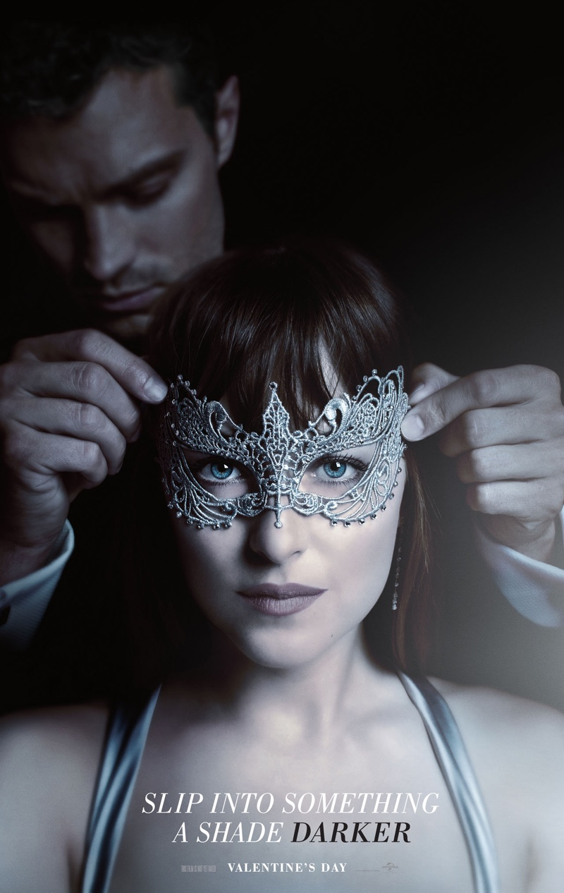 Dakota Johnson poses on Fifty Shades Darker poster