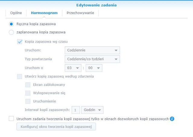 Harmonogram zadania w Synology Active Backup for Business