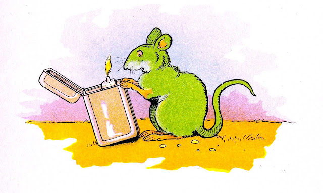 Benjamin Rabier illustration mouse with lighter flame