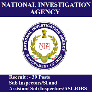 National Investigation Agency, NIA, Ministry of Home Affairs, Government of India, SI, ASI, Assistant Sub Inspector, Sub Inspector, Graduation, freejobalert, Sarkari Naukri, Latest Jobs, nia logo