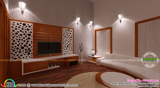 Living room interior with wooden finish