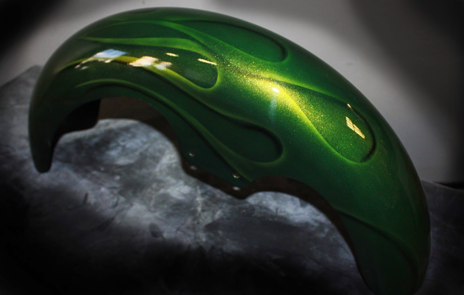 Online Motorcycle Paint Shop Lime Gold Green Candy Flames