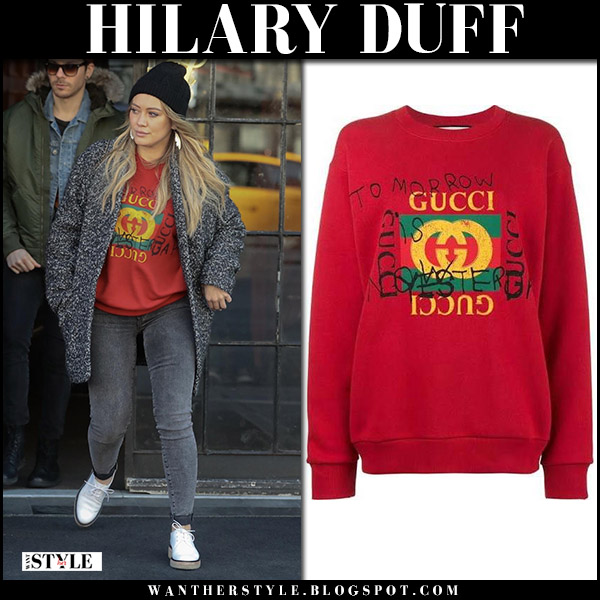 Hilary Duff in red logo sweatshirt gucci coco capitan and grey jeans street style december 21