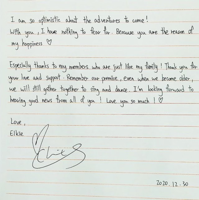 Knetz shares their thought about CLC Elkie shares a letter to her fans in Instagram.