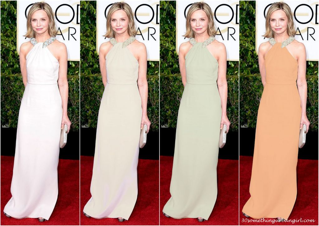 Calista Flockhart's Raoul Golden Globes 2015 dress in different colors