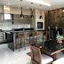 Espaço gourmet moderno e rústico com porcelanato concreto, aço corten e pedra ferro!!