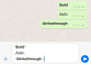 Cara Membuat Huruf Tebal, Miring dan Tercoret di WhatsApp