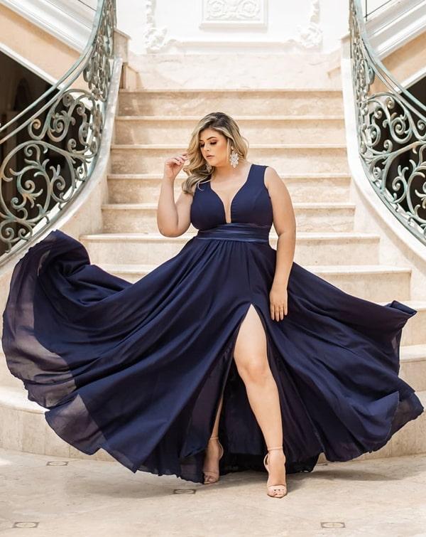 vestido de festa plus size azul marinho