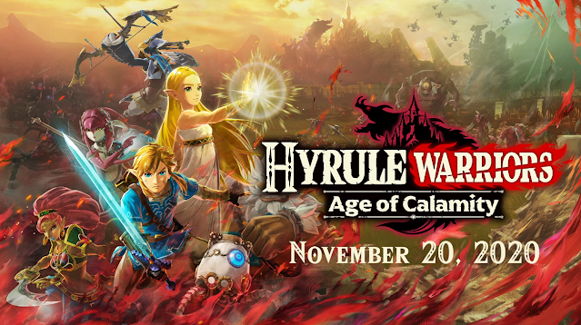 Hyrule Warriors Age of Calamity key art Link Zelda Mipha Urbosa Revali Daruk Ganon