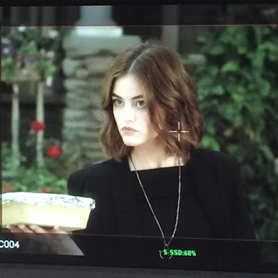 "Lucy Hale as Aria PLL bts filming 7x05 ""Along Comes Mary"""