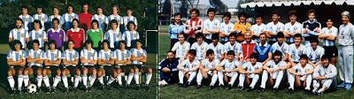 Los planteles campeones del mundo en 1978 y en 1986.