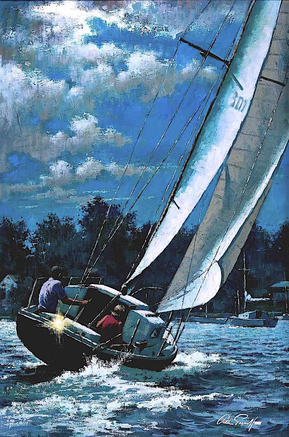an Arthur Saron Sarnoff illustration of a sailboat in moonlight