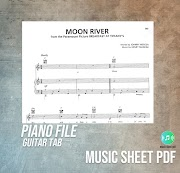 Moon River - Piano-Guitar Tab Music Sheet PDF File
