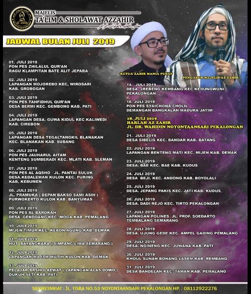 Jadwal Az Zahir Pekalongan Bulan Juli 2019