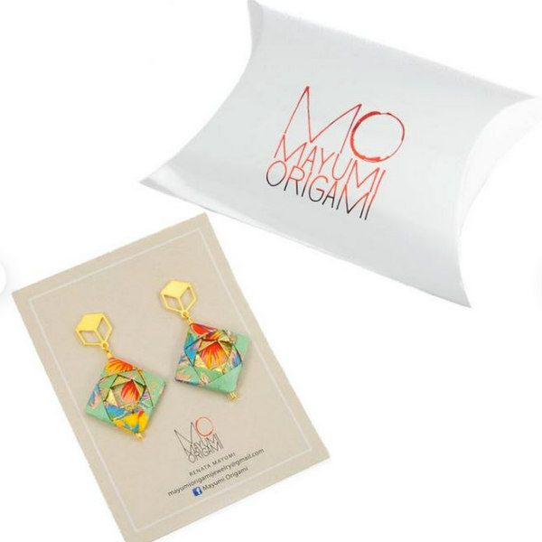 origami paper earrings and pillow box