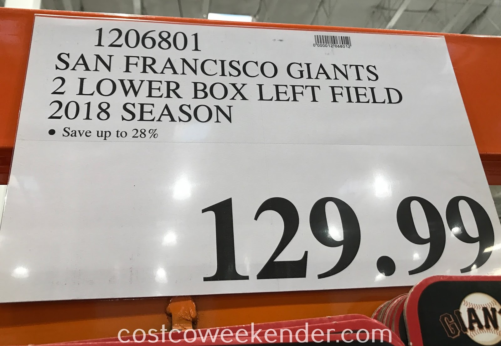 Deal for 2 lower box left field San Francisco Giants tickets for $129.99 at Costco