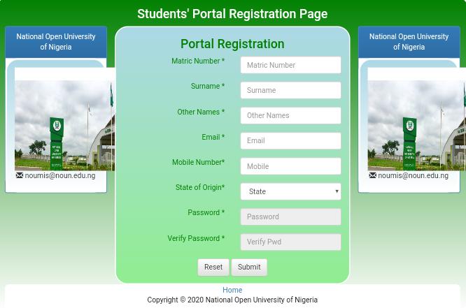 NOUN student portal registration