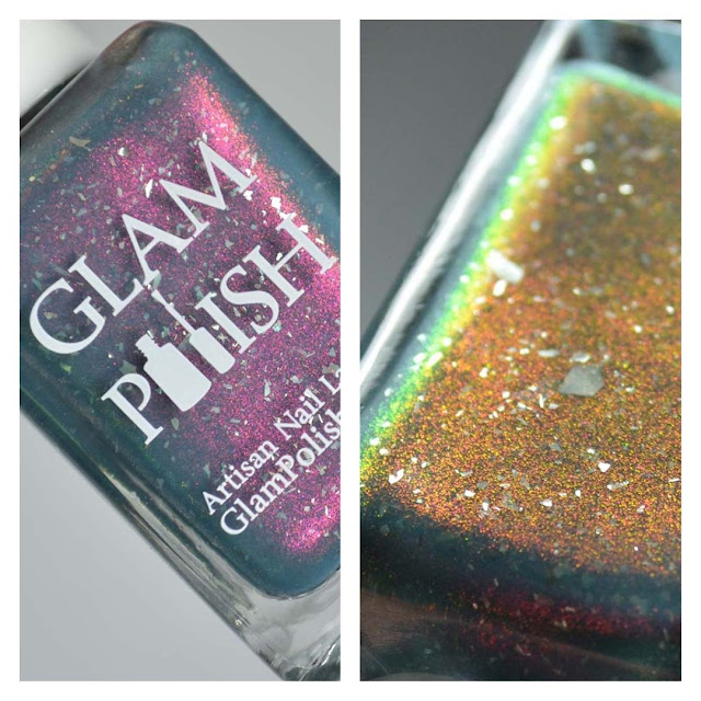 grey nail polish with shimmer in a bottle