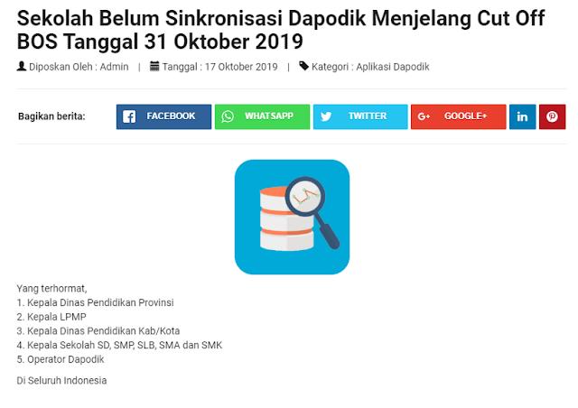 Segera Sinkron Dapodik 2020.a Sebelum Cut Off 31 Oktober 2019
