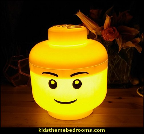 LEGO Storage Head bedside table lamp   construction bedroom decor - construction truck decor - boys bedrooms construction themed - LEGO furniture - dump truck decor - work trucks bedding - tools construction trucks theme bedroom - under construction building site - construction themed bedroom decor - Lego bedroom decor ideas - Tool belt theme - Kids tool bedding - tool pillows - Lego bedroom furniture -