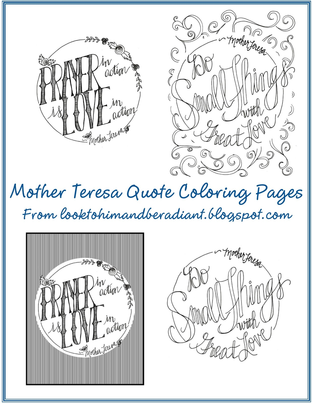 Of Mother Teresa Quote Coloring Pages It Was No Hardship To Be Inspired Create A Few More Thanks Some Back School Inservice Doodling Time