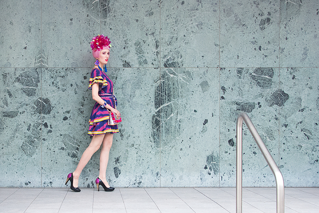 Sara is in Love with… blogger ootd style fashion Frida Kahlo Celia B African print fascinator Fumbalinas pink hair Melissa shoes Karl Lagerfeld Sophia Webster flamingo