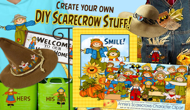 Make fun DIY Scarecrow Stuff with Annie Lang's Scarecrows Character Clipart from Creative Market!