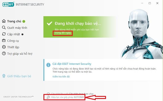 Hướng dẫn nhận miễn phí Eset Internet Security bản quyền 90 ngày
