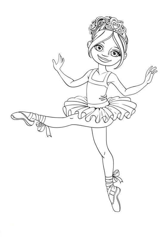 Hình tô màu bé gái múa bale