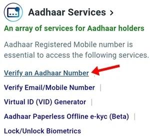 click verify an aadhaar number