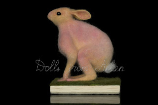 ooak needle felted hare sculpture, side view