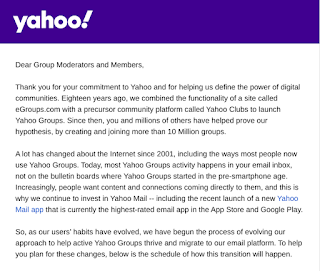 Email from Yahoo regarding changes to Groups