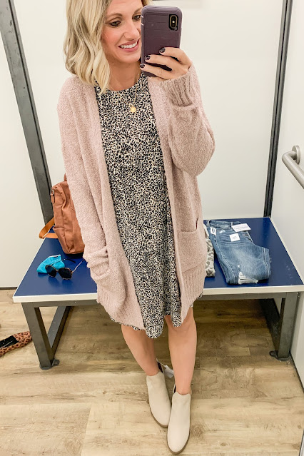 Old Navy leopard print dress with blush cozy cardigan #leopardprint #cardigan