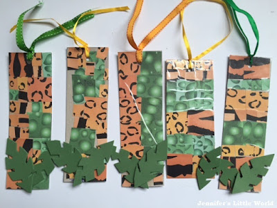 Jungle themed bookmark craft for children