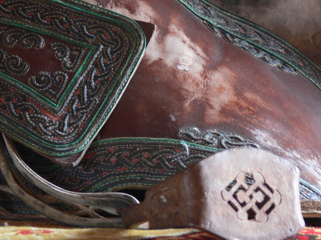 A traditional Mongolian saddle