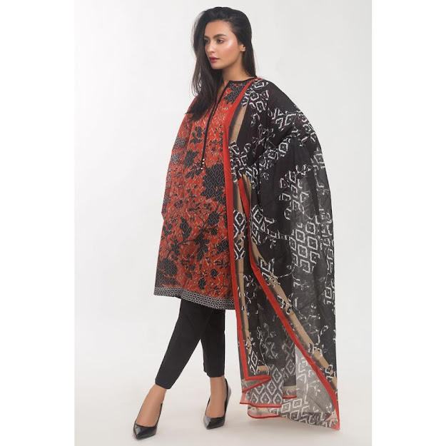 Gul Ahmed Red & Black color crambic ready to wear colllection