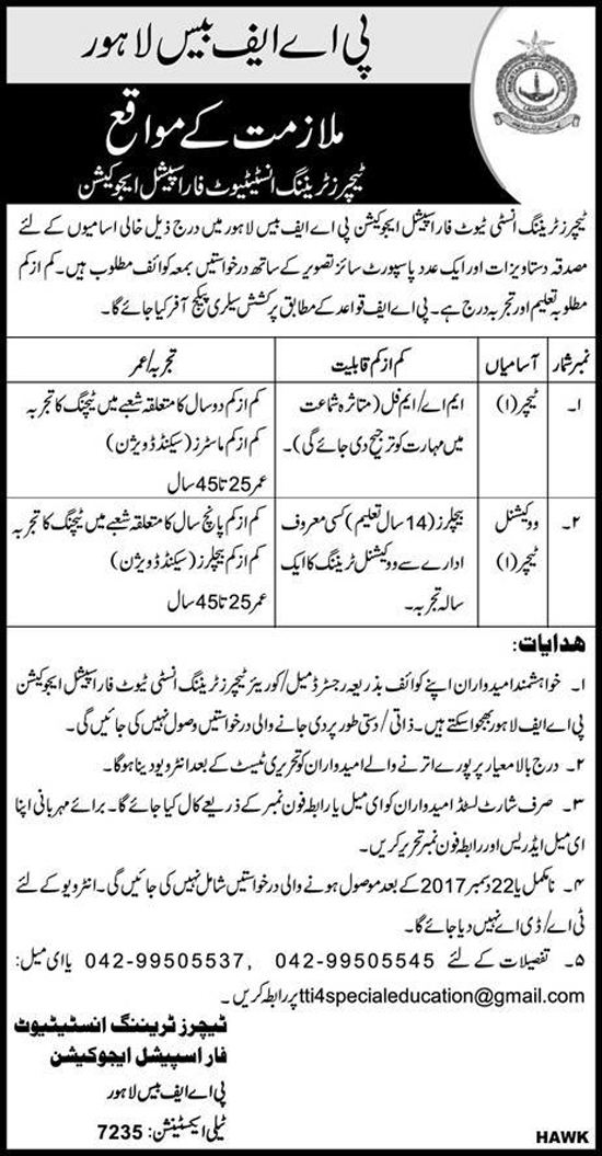 Teachers Jobs In PAF base Lahore Dec 2017
