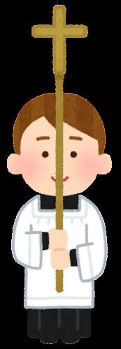 ミサで十字架を持つ子供のイラスト(男の子)