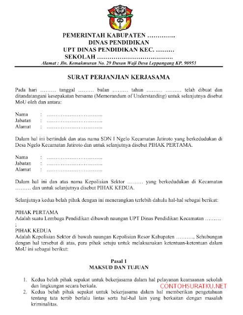 Contoh Surat Perjanjian Kerjasama Sekolah dengan Kepolisian Format Word