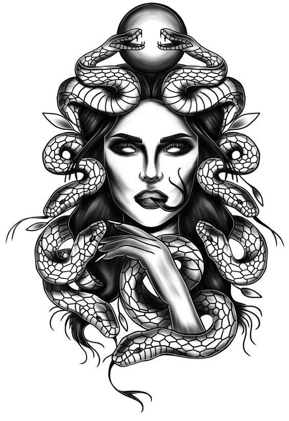 Medusa-Mythical-Greek-Creature-Tattoo-Design