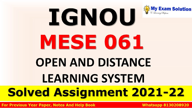 MESE 061 Solved Assignment 2021-22