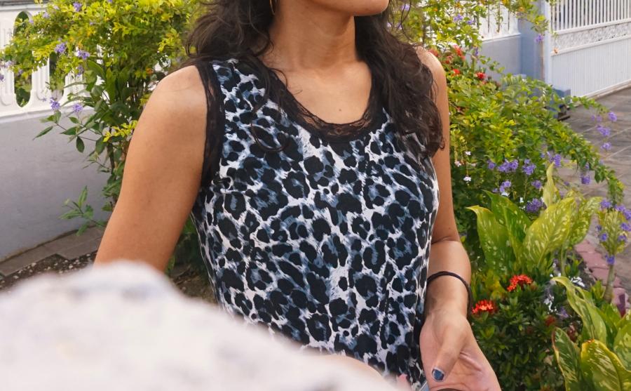 The leopard top has black lace detailing.