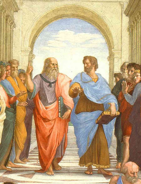 """The School of Athens"" Raffaello, 1590 Aristotle, left, Plato, right"
